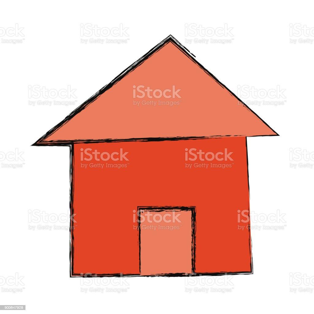 House real estate symbol cartoon vector art illustration