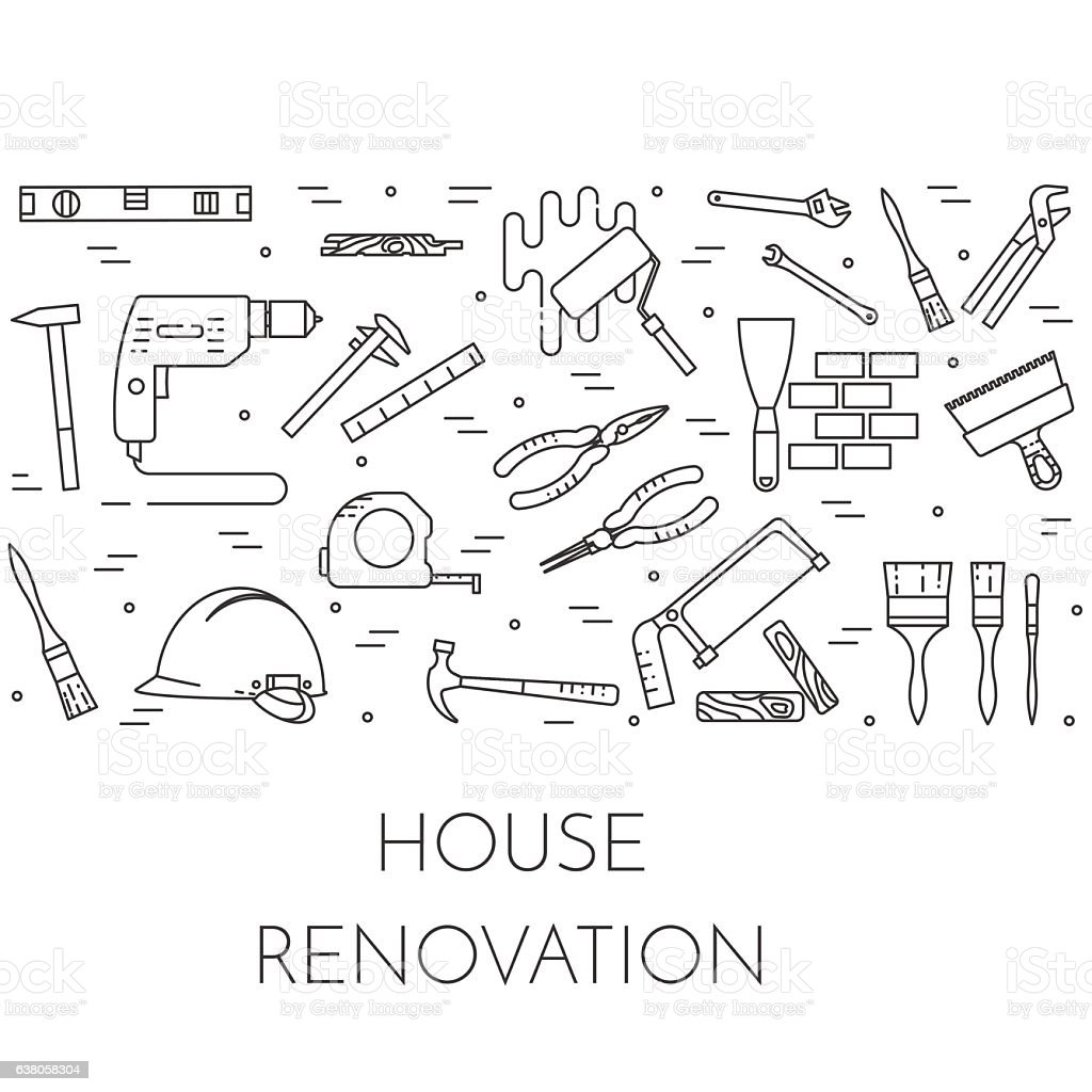 House remodel horizontal banner with building tools Line art vector art illustration