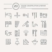 Vector collection of house repair icons, including electric, plumbing tools. Modern line style labels of house remodel gear and elements. Building, construction graphic design. Repair tools for web and applications.