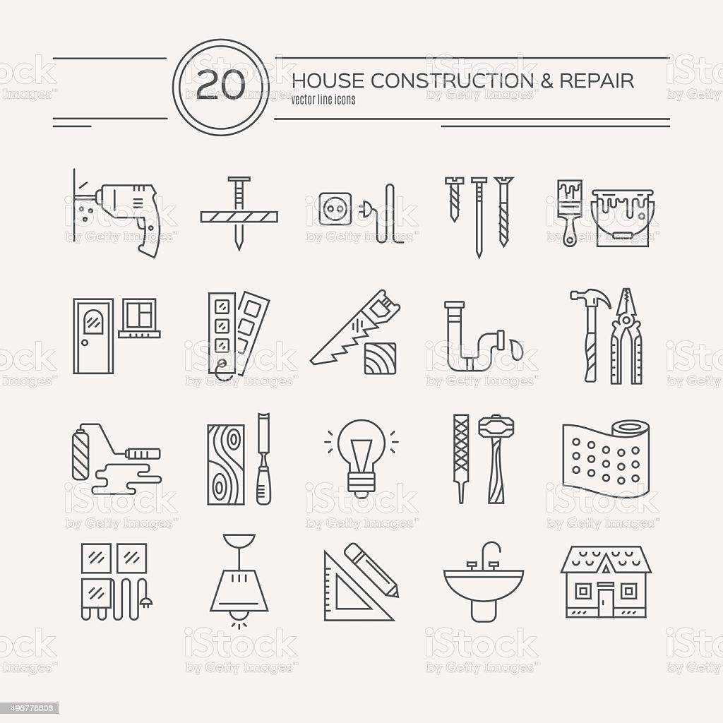 Remodelación de iconos de casa - ilustración de arte vectorial