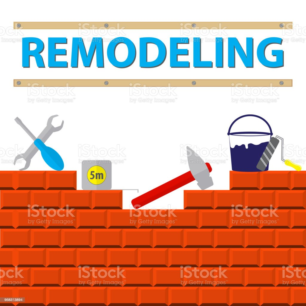 House Remodel Tools On The Brick Wall Remodeling Logo Flat