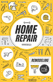 Home repair, house construction or flat renovation and remodeling service poster. Vector thin line handyman carpentry toolbox of hammer, interior painting brush and stucco plastering roller tool