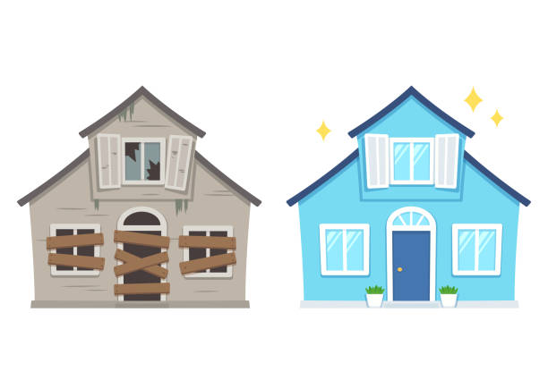 ilustrações de stock, clip art, desenhos animados e ícones de house renovation before and after - casa reforma