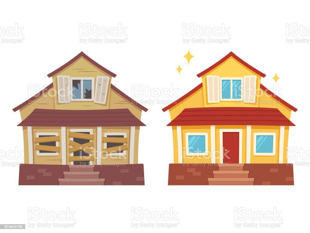 House renovation before and after vector art illustration
