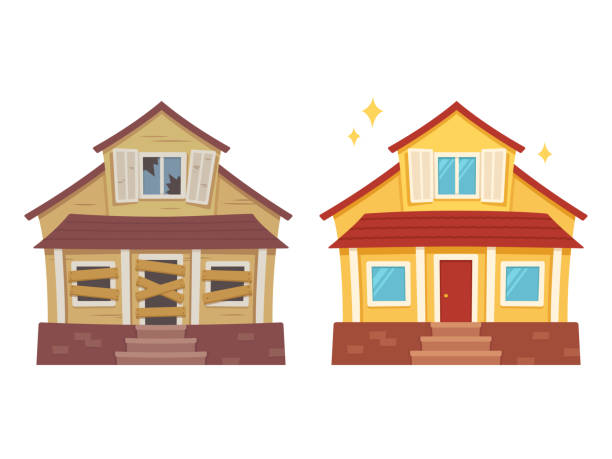 house renovation before and after - house stock illustrations