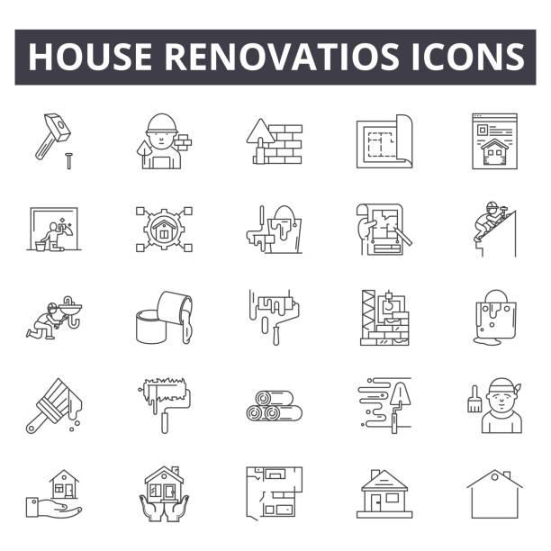 ilustrações de stock, clip art, desenhos animados e ícones de house renovation line icons, signs, vector set, linear concept, outline illustration - obras em casa janelas