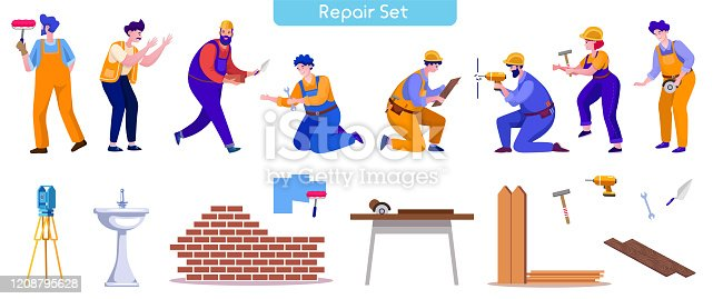 House repair and renovation flat vector illustrations set. Handyman painting wall, woman repairing fence, Carpenter, builder, plumber, bricklayer cartoon characters isolated on white background