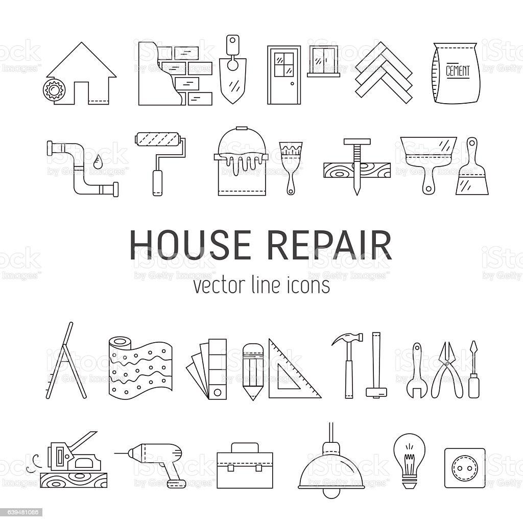 Haus Reparatur Symbole Vektor Illustration 639481086 | iStock