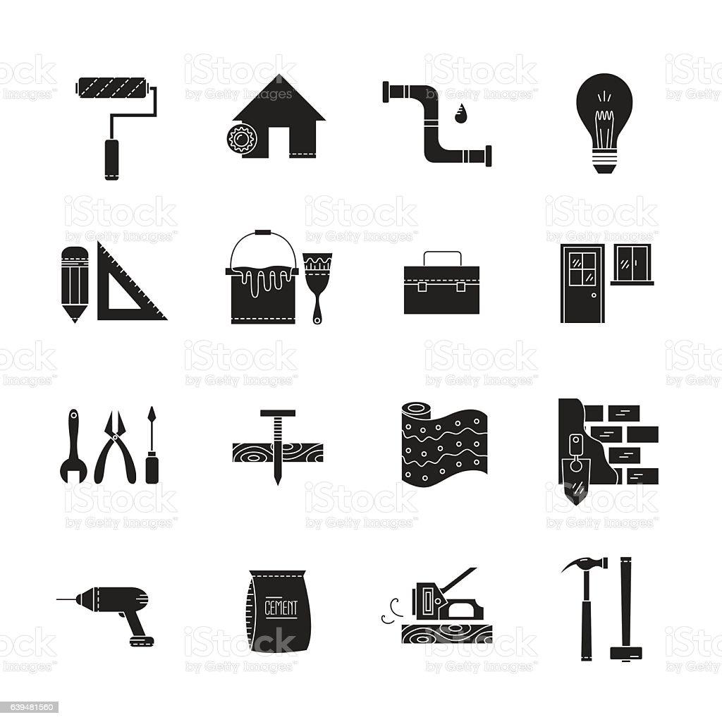 Haus Reparatur Symbole Vektor Illustration 639481560 | iStock