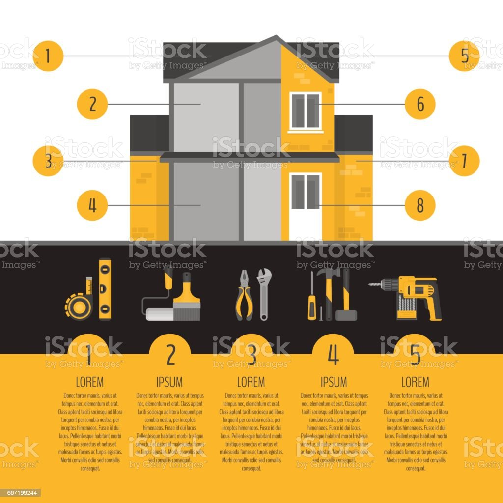 House repair infographics. Hand tools for home renovation and improvement. Flat style, vector illustration. vector art illustration
