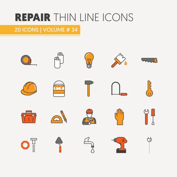 illustrations, cliparts, dessins animés et icônes de maison réparation rénovation linéaire mince ligne icônes - logo peintre en batiment