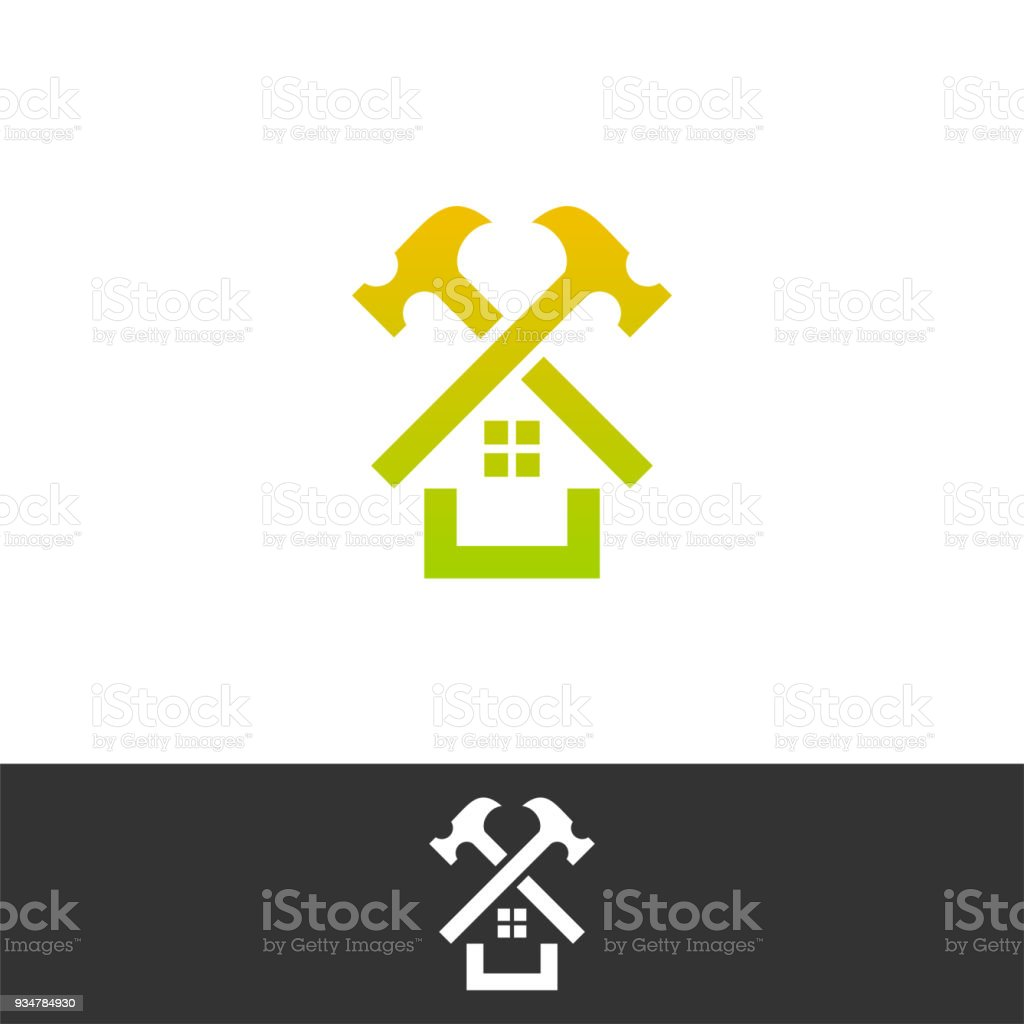 Amazing House Repair. Roof Repair Logo. Repairs House Sign. Home Improvement Logo.  On