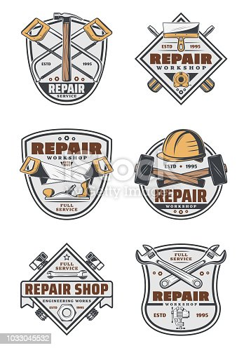Repair service vintage emblems with house renovation and construction work tools. Hammer, screwdriver and wrench, spanner, saw and spatula, screw, hard hat and tape measure retro badges design