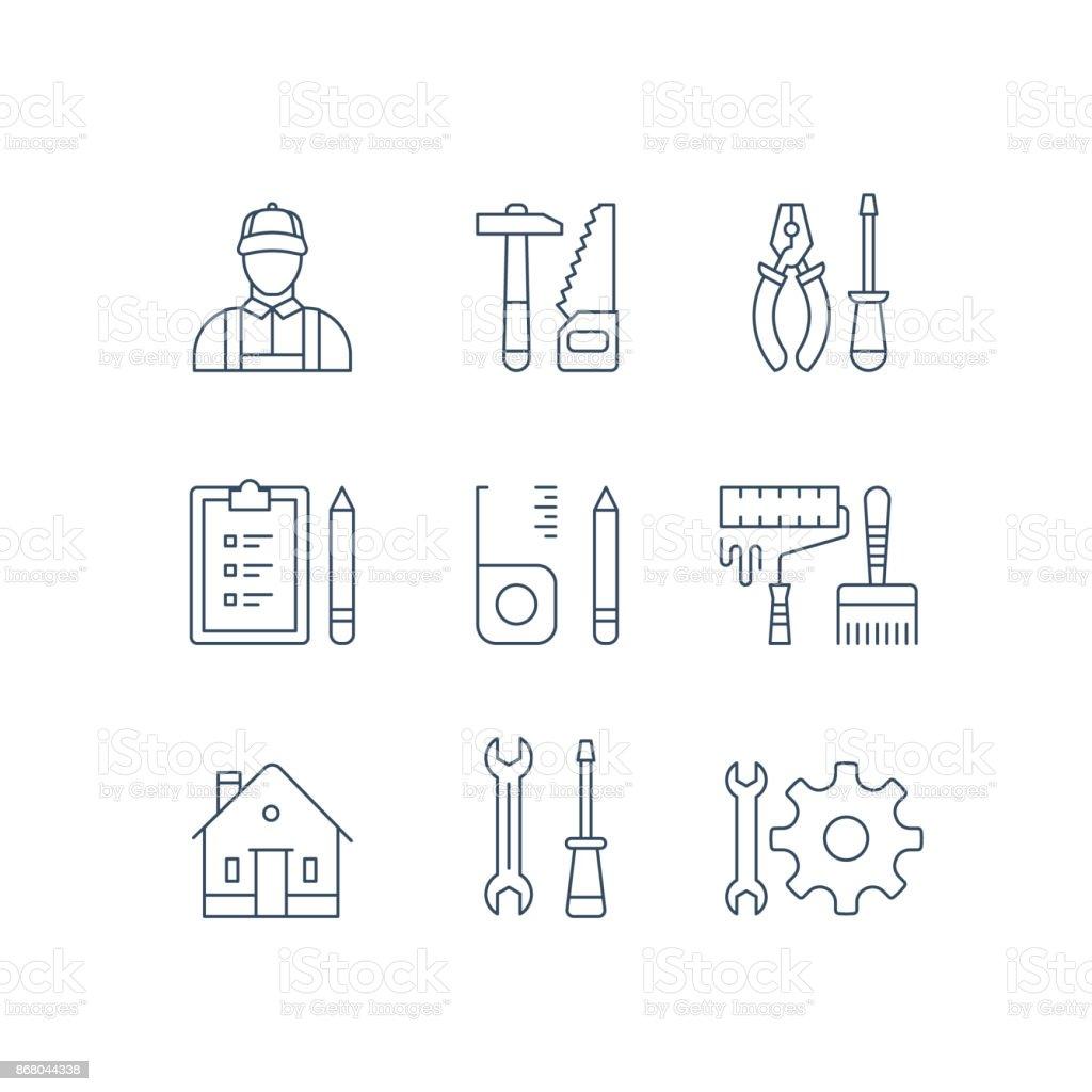 Herramientas de reparación de la casa, trabajador de mejoras para el hogar, equipos de renovación, Martillo Sierra, alicates y destornillador, pintura rodillo y pincel - ilustración de arte vectorial