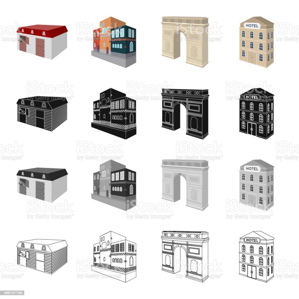 Hus, bostäder, byggande och andra web-ikonen i tecknad stil. Administrativ, museer, Teater, ikoner i set samling. - Royaltyfri Affär vektorgrafik