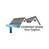 istock house roof gutter logo design. home pipe installation vector template illustration 1265266886