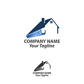 istock house roof gutter logo design. home pipe installation vector template illustration 1266676497