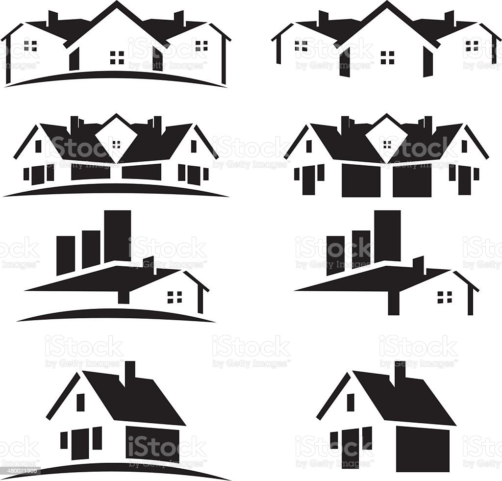 House roofs set for real estate business vector art illustration