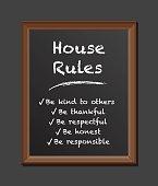 house rules chalk board