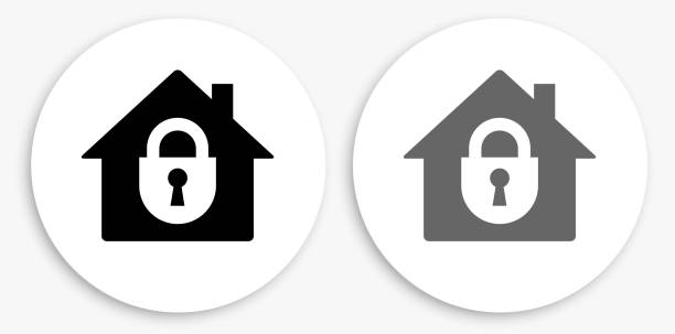 House Safety Black and White Round Icon vector art illustration