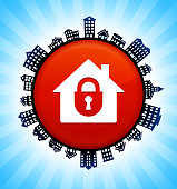 House Safety  on Rural Cityscape Skyline Background. The button is in the center of the illustration. a detailed 100% vector rural cityscape skyline is placed around the circumference of the button and includes various houses, single family homes, residential condominium and other suburb buildings. There is a blue sky background with a star burst glow rendered behind the buildings. The image is ideal for displaying rural suburban life concepts and ideas.