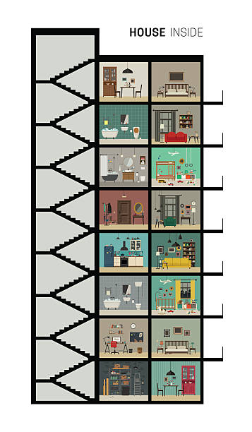 House section House inside interior. Vector flat house with set of basic rooms. High-rise house in cut with furniture. bedroom silhouettes stock illustrations
