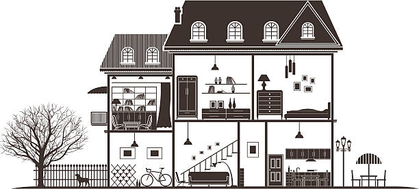 house-bereiche - gartensofa stock-grafiken, -clipart, -cartoons und -symbole