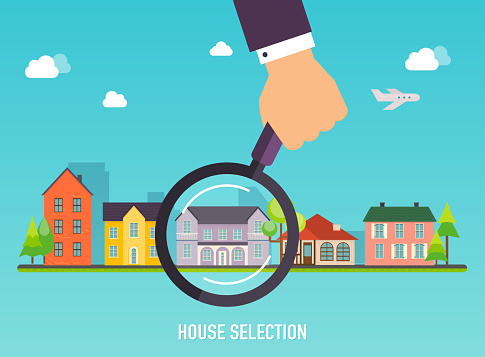 House selection. Magnifying glass with house. Concept for web banners, websites, infographics.