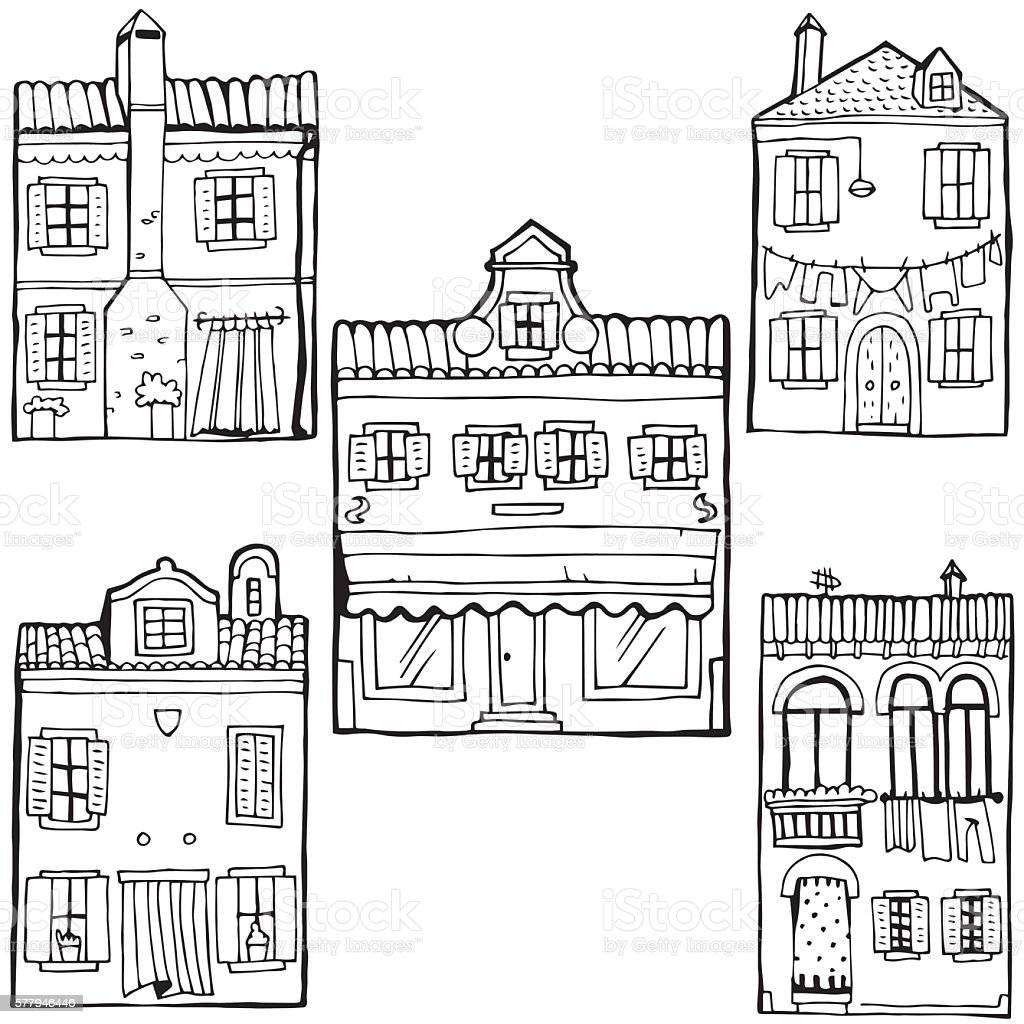House set. Island Burano. Venice. Travel and Vacation Theme. vector art illustration