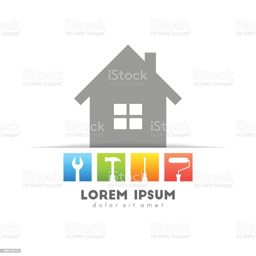 House set with work tools vector art illustration