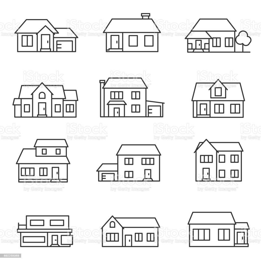 conjunto de iconos de set.buildings de casa. Línea con el movimiento editable - ilustración de arte vectorial