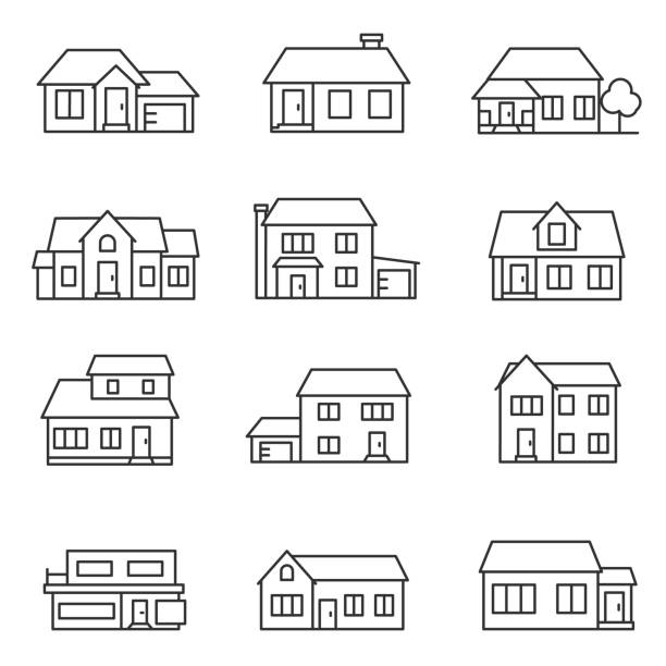 house set.buildings icons set. Line with editable stroke house set. collection of buildings, linear design. Line with editable stroke cottage stock illustrations