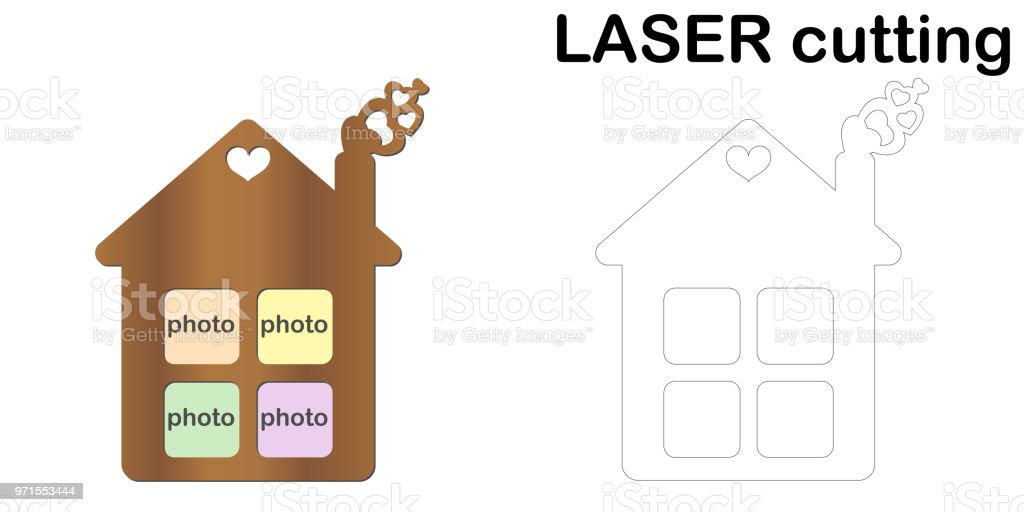 House shaped frame for photos for laser cutting. Collage of photo frames. Template laser cutting machine for wood and metal vector art illustration