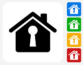House Shaped Keyhole Icon. This 100% royalty free vector illustration features the main icon pictured in black inside a white square. The alternative color options in blue, green, yellow and red are on the right of the icon and are arranged in a vertical column.