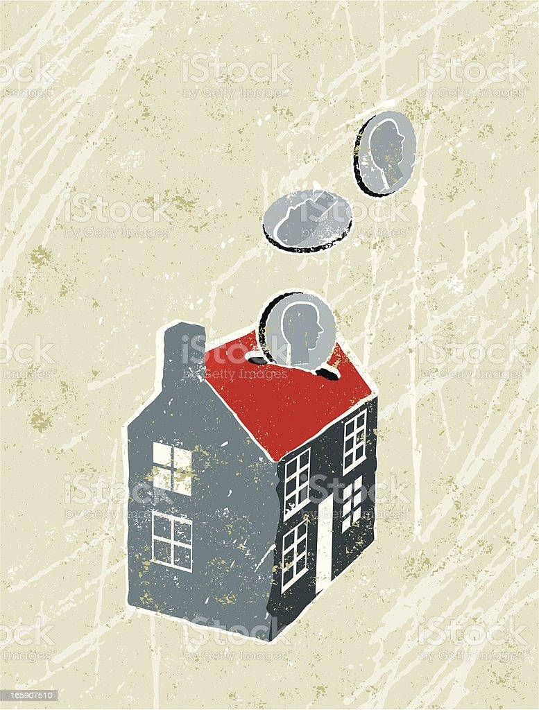 House Shaped Money Box. vector art illustration