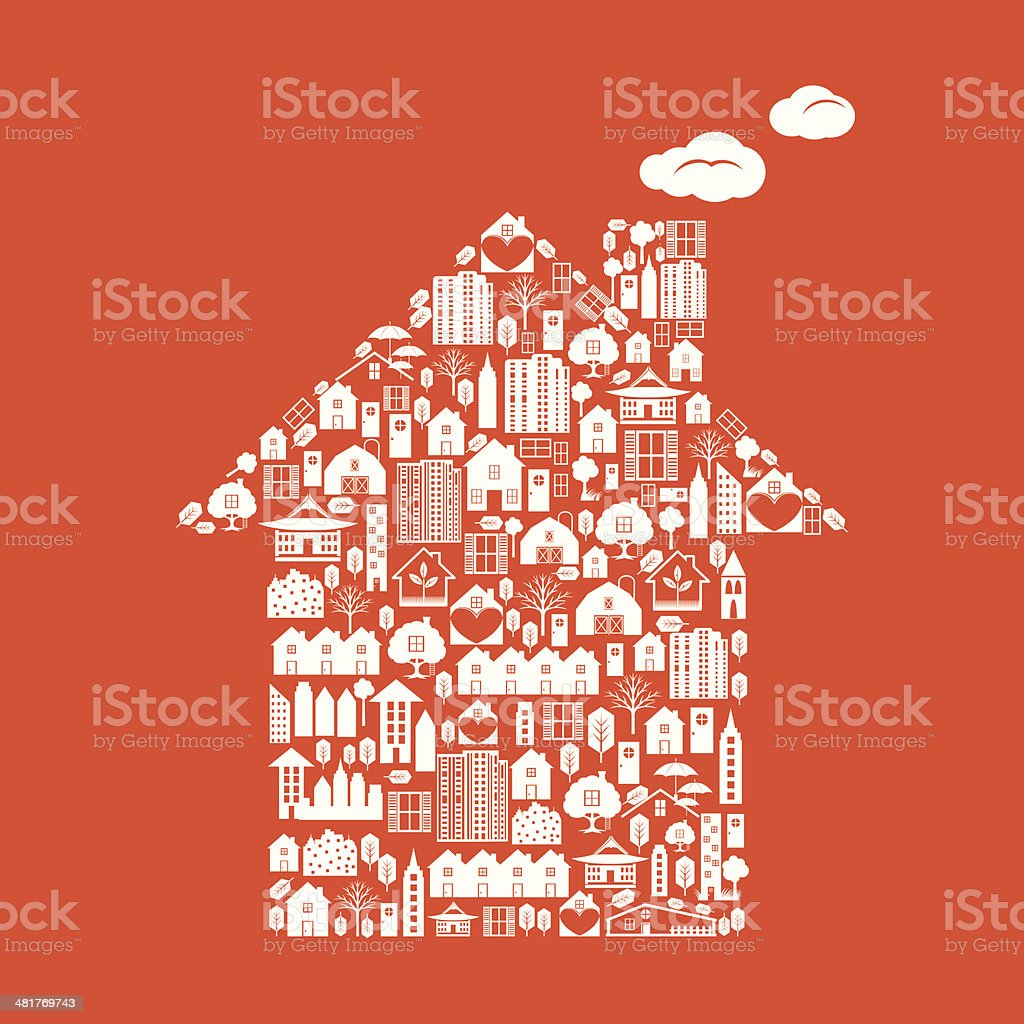 House Shaped Real Estate White Icons On Orange Background royalty-free stock vector art