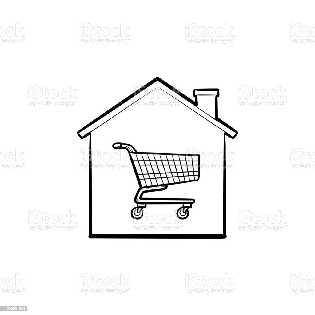 Esquema de dibujado a mano de carro comercial casa doodle icono - ilustración de arte vectorial