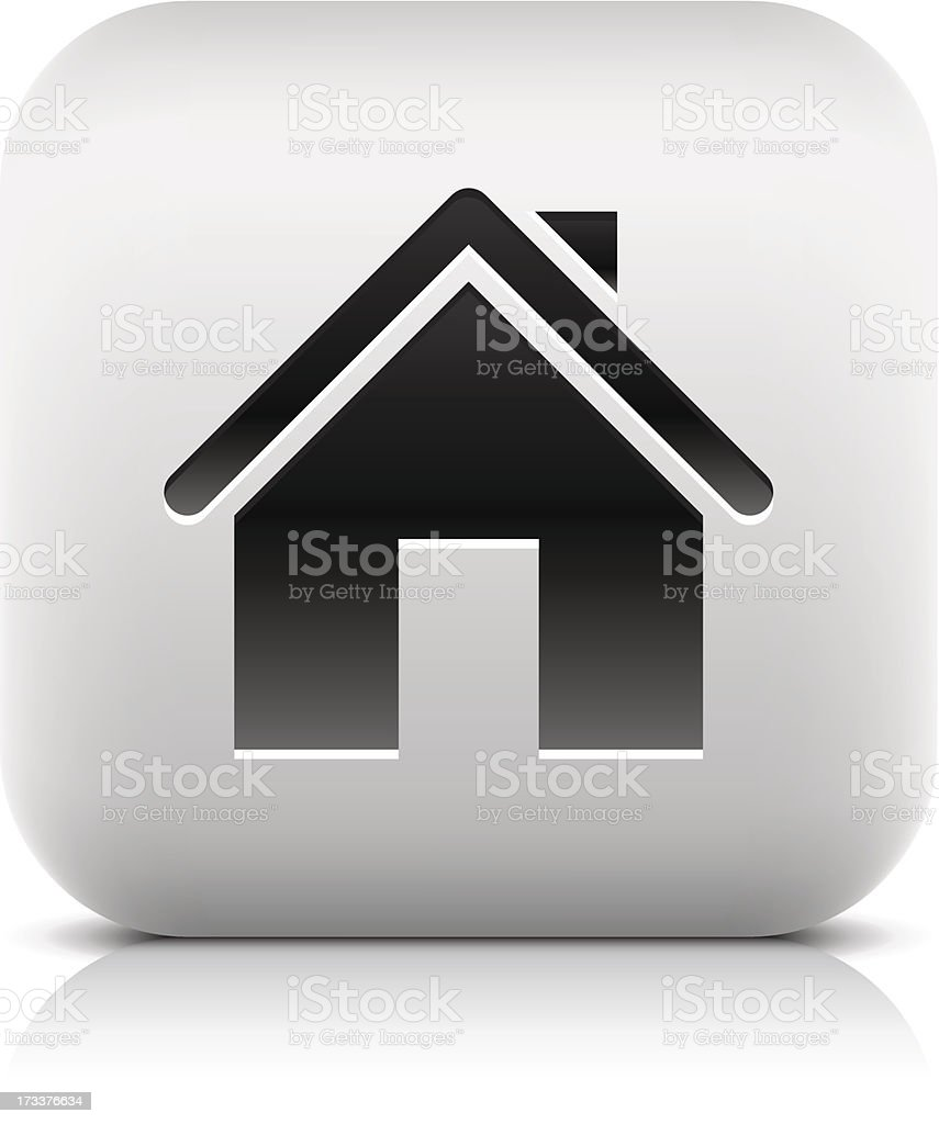 House sign home pictogram square icon web button vector art illustration