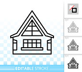 House simple black line home exterior vector icon