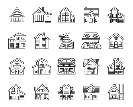 House simple black line icons vector set