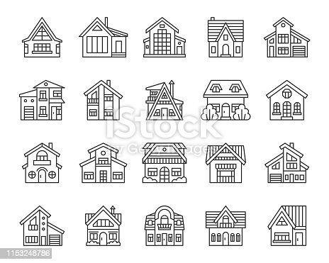 House thin line icon set. Outline web sign kit of exterior. Township linear icons of modern town, city mansion, architecture. Simple cottage black contour symbol isolated on white. Vector Illustration