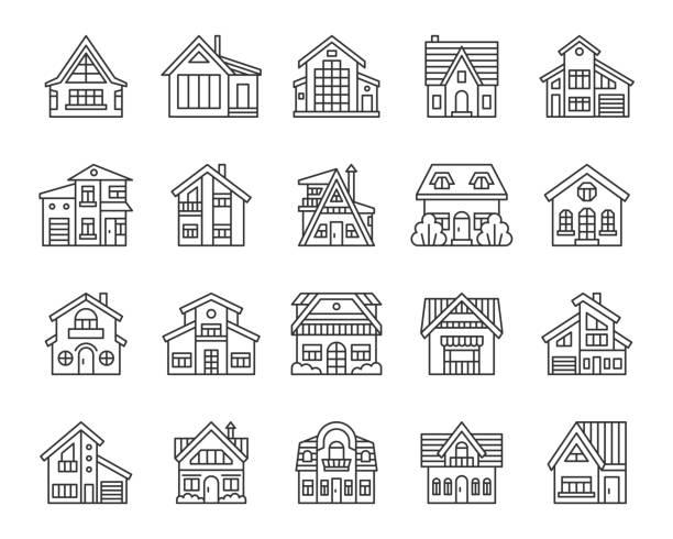 haus einfache schwarze linie ikon-vektor-set - landhaus stock-grafiken, -clipart, -cartoons und -symbole