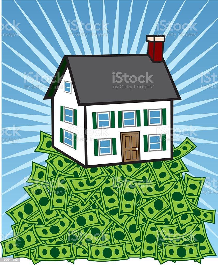 House Sitting on Pile of Cash vector art illustration