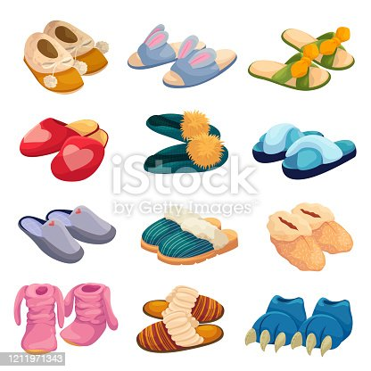 istock House slippers set, soft comfortable slip on shoe for home 1211971343