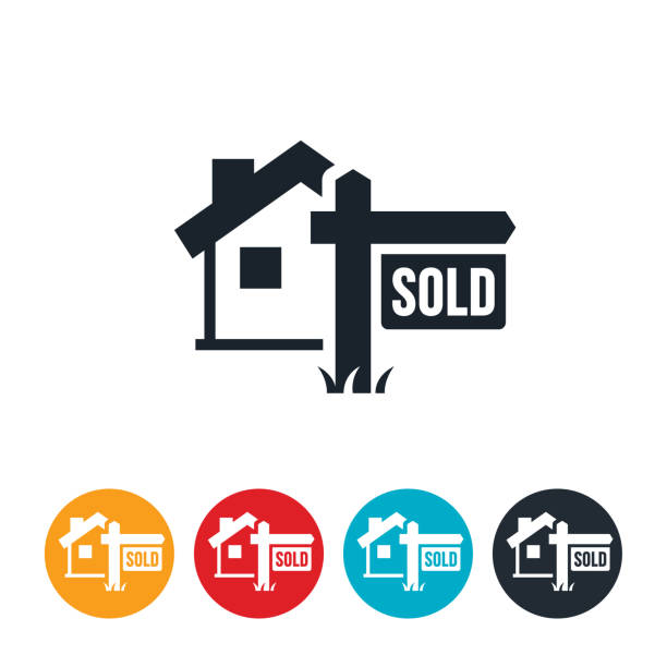 house sold icon - sprzedawać stock illustrations