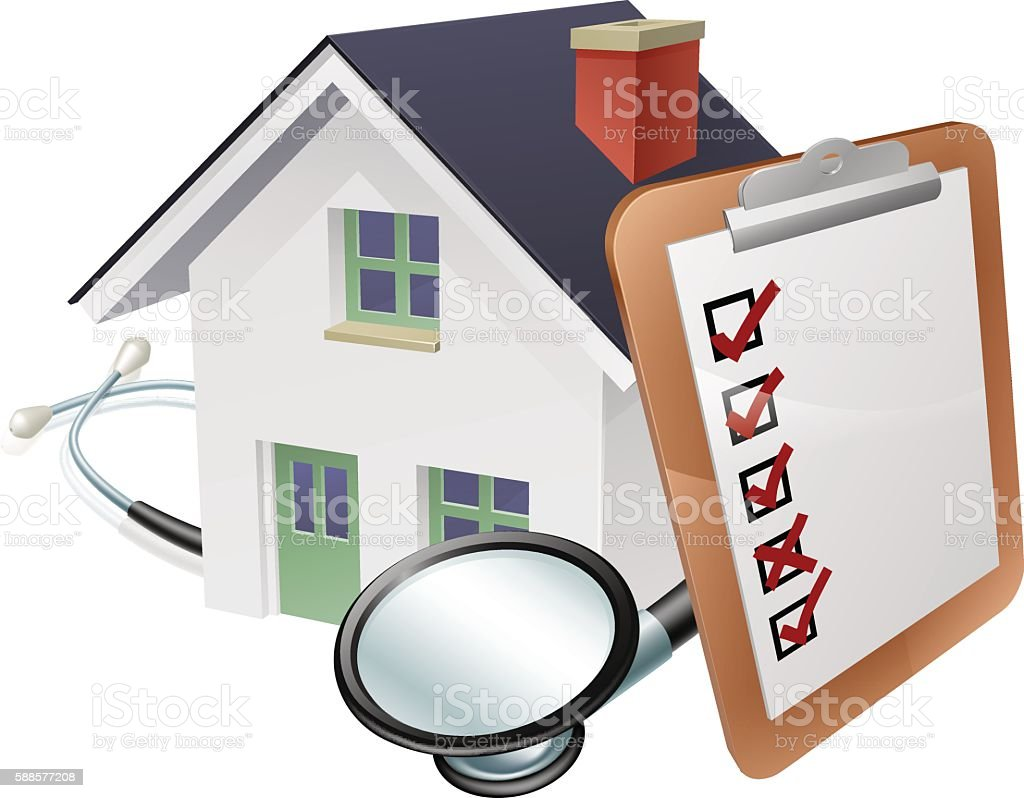 House Stethoscope and Survey Clipboard Concept vector art illustration