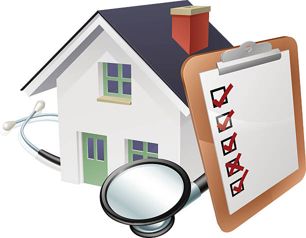 ilustraciones, imágenes clip art, dibujos animados e iconos de stock de house stethoscope and survey clipboard concept - hipotecas y préstamos