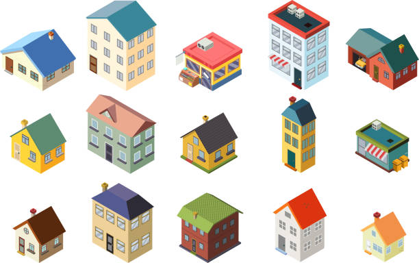 ilustrações de stock, clip art, desenhos animados e ícones de house street isometric icons set flat design concept vector illustration - house garage