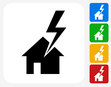 House Struck by Lightning Icon Flat Graphic Design