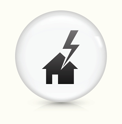 House Struck by Lightning icon on white round vector button
